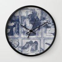 blueprint Wall Clocks featuring Vigilante Blueprint by Matthew Dunn