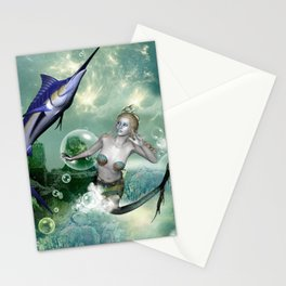 Marlin with mermaid Stationery Cards