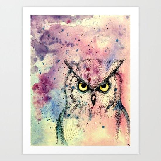 Owl Watercolor/Pen&Ink Art Print