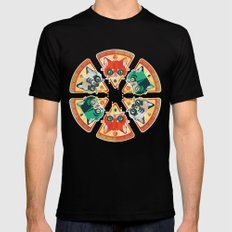 Pizza Slice Cats  Black Mens Fitted Tee MEDIUM