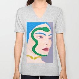 Echidna Medusa Snake Woman with Blue Hair from Greek Mythology Unisex V-Neck