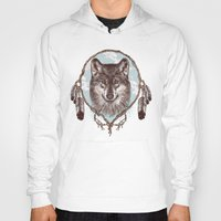 gray Hoodies featuring Gray Wolf by Rachel Caldwell