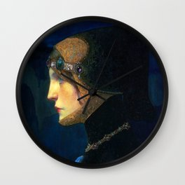Head of a Lady in Medieval Costume by Lucien Victor Guirand de Scevola (c.1900) Wall Clock