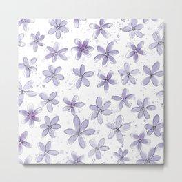 Floral Pattern #6 | Light Purple Metal Print