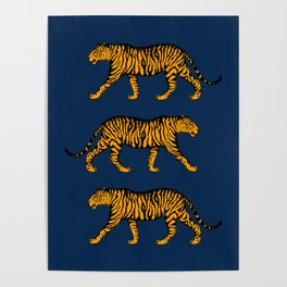 Tigers (Navy Blue and Marigold) Poster