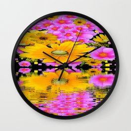 PINK-YELLOW FLORALS REFLECTED WATER ART Wall Clock