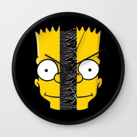 joy division Wall Clocks featuring Bart Division by alboradas