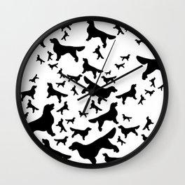 Golden Retriever - black stencil silhouettes Wall Clock