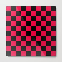 Black and Red Checkerboard Pattern Metal Print