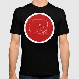 Relaxing Cat in red circle T-shirt