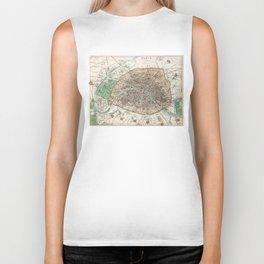 Vintage Map of Paris France (1872) Biker Tank