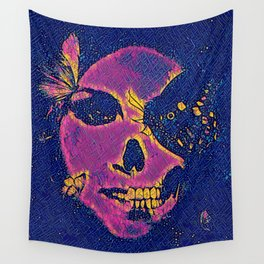 Skull and Butterflies Pink Wall Tapestry
