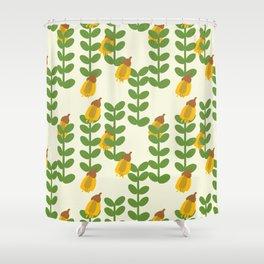 Retro Kowhai Pattern Shower Curtain