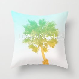 Retro Vintage Ombre Los Angeles, Southern California Palm Tree Colored Print Throw Pillow