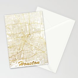 Houston Map Gold Stationery Cards