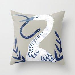 No Regret Egret Throw Pillow
