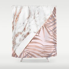 Rose gold marble & tropical ferns Shower Curtain