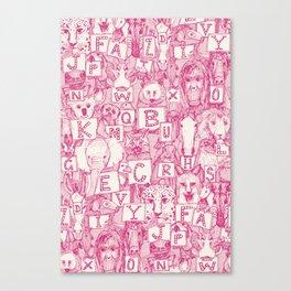animal ABC pink ivory Canvas Print
