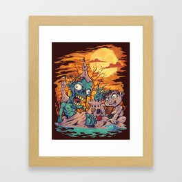 Zombie At The Beach  Framed Art Print