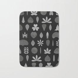 Leaf Shapes and Arrangements Pattern Greyscale Bath Mat