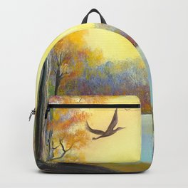 Evening Forest. russian nature. sunset Backpack