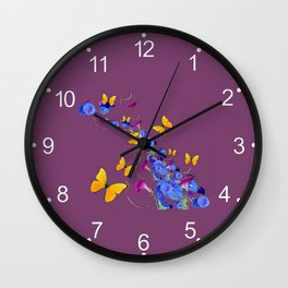 Yellow Butterflies, Morning Glories Puce Color Abstract Design Wall Clock