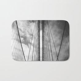 New York - Brooklyn Bridge, Black and White Bath Mat