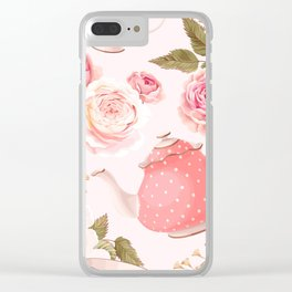 Pink Teacup Clear iPhone Case