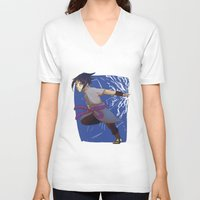 sasuke V-neck T-shirts featuring Sasuke the Avenger by Michelle Rakar