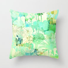 turquoise floral Throw Pillow