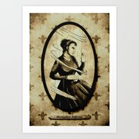 mercedes Art Prints featuring Dark Eyes: Mercedes Fabron by Chris Chelser