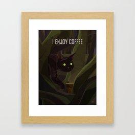 A Cat Enjoys Coffee Framed Art Print