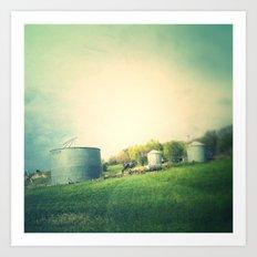 Farm land drive by Art Print