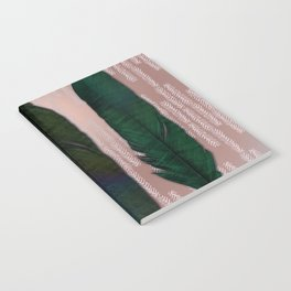 Powder pink and green feathers Notebook
