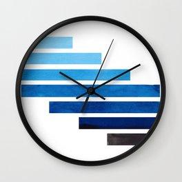 Prussian Blue Midcentury Modern Minimalist Staggered Stripes Rectangle Geometric Aztec Pattern Water Wall Clock