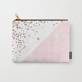 Modern pink watercolor color block rose gold confetti Carry-All Pouch