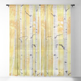 Autumn Birch Sheer Curtain