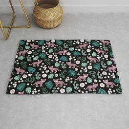 Little Leopard cub jungle forest palm tree pink Rug