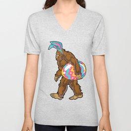 Easter Bigfoot Bunny Ears Egg Shirt For Kids T-Shirt Unisex V-Neck