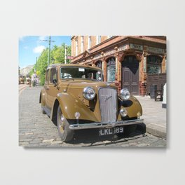 Vintage car and English Pub Metal Print