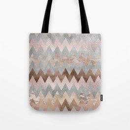 Rose Gold Chevron Glitter Glamour Marble Gem Tote Bag