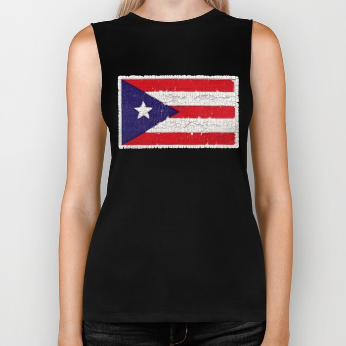 Puerto Rican flag with distressed textures Biker Tank