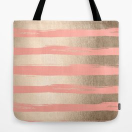 Painted Stripes Tahitian Gold on Coral Pink Tote Bag