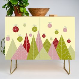 Trees and Ornaments Triangles and Circles Christmas Illustration Credenza