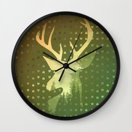 Golden Deer Abstract Footprints Landscape Design Wall Clock