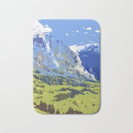 Majestic Blue Green Swiss Mountains Bath Mat