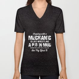 arguing with a mechanic t-shirts Unisex V-Neck