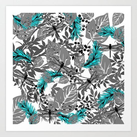 PALM LEAF DRAGONFLY BLUE Art Print