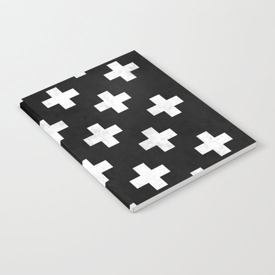 Black and white swiss cross pattern Notebook