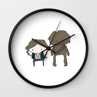 han solo Wall Clocks featuring Han Solo & Chewie by Justin Temporal